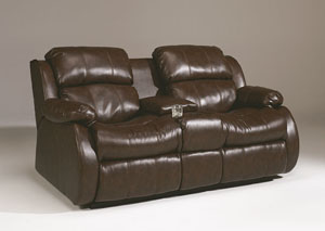 DuraBlend Cafe Double Reclining Loveseat w/Console