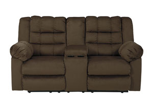 Mort Umber Double Reclining Loveseat w/Console