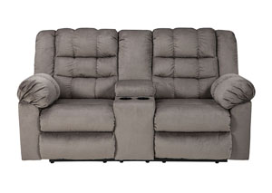 Mort Charcoal Double Reclining Loveseat w/Console
