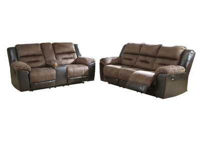 Earhart Chestnut Reclining Sofa & Loveseat w/Console,Signature Design By Ashley