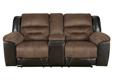 Earhart Chestnut Double Reclining Loveseat w/Console