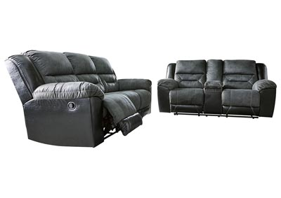 Image for Earhart Slate Reclining Sofa & Loveseat w/Console