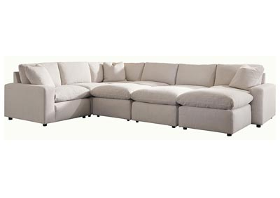 Image for Savesto Ivory 6 Piece Sectional w/3 Ottomans
