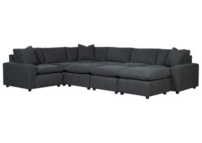 Savesto Charcoal 6 Piece Sectional w/3 Ottomans