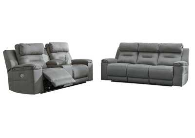 Trampton Smoke Power Reclining Sofa & Loveseat w/Console & Adjustable Headrest