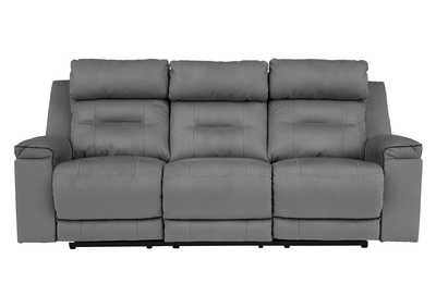 Trampton Smoke Power Reclining Sofa w/Adjustable Headrest