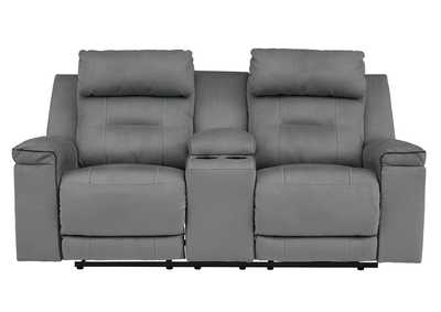 Trampton Smoke Power Reclining Loveseat w/Console & Adjustable Headrest