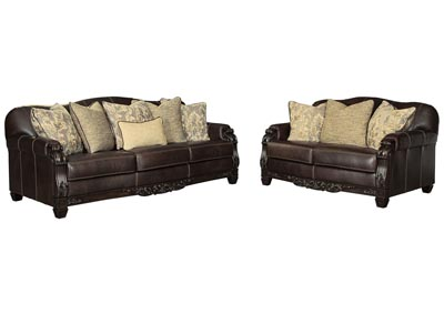 Embrook Chocolate Sofa and Loveseat