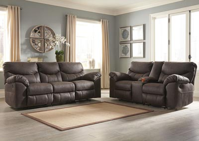 Image for Boxberg Teak Reclining Sofa & Double Reclining Loveseat w/Console