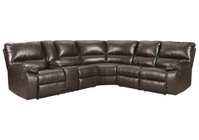 Image for Warstein Chocolate Reclining Sectional w/Console