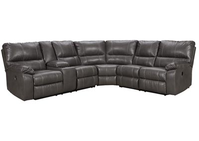 Warstein Gray Power Reclining Sectional w/Console