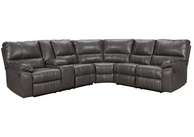 Warstein Gray Reclining Sectional w/Console