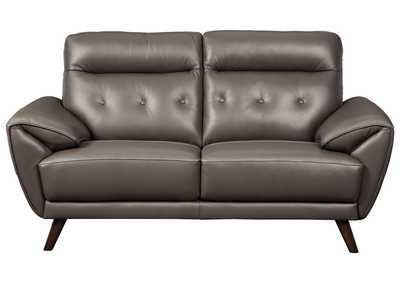 Image for Sissoko Gray Leather Loveseat