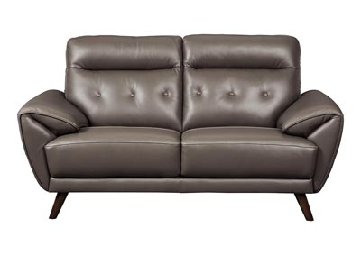 Sissoko Gray Leather Loveseat
