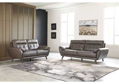 Sissoko Gray Leather Sofa and Loveseat