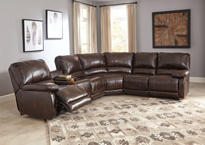 Hallettsville Saddle Left Facing Double Power Reclining Loveseat Sectional w/Storage Console