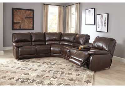 Hallettsville Saddle Right Facing Double Power Reclining Loveseat Sectional w/Storage Console