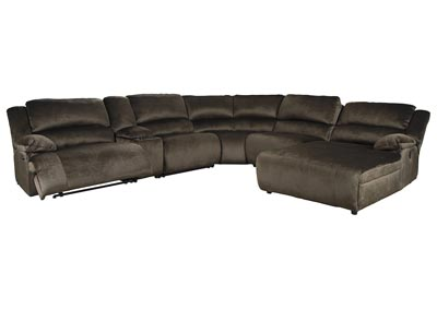 Clonmel Chocolate RAF Power Chaise Sectional w/Console