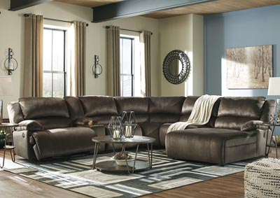 Clonmel Chocolate RAF Power Chaise Sectional w/Console,Signature Design By Ashley