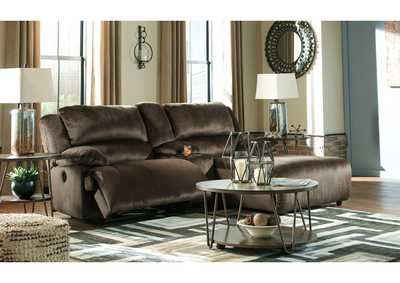 Clonmel Chocolate 3 Piece RAF Chaise Sectional w/Console