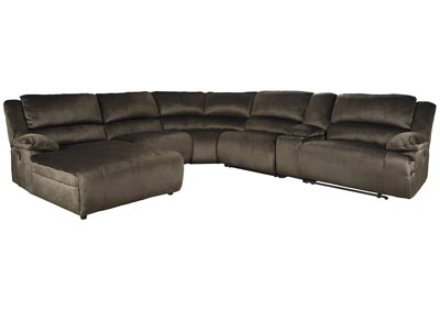Clonmel Chocolate LAF Power Chaise Sectional w/Console