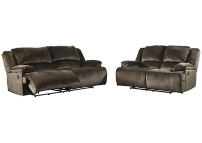 Clonmel Chocolate 2 Seat Power Reclining Sofa & Loveseat