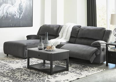Clonmel Charcoal 3 Piece LAF Power Chaise Sectional
