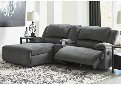 Clonmel Charcoal 3 Piece LAF Chaise Sectional w/Console