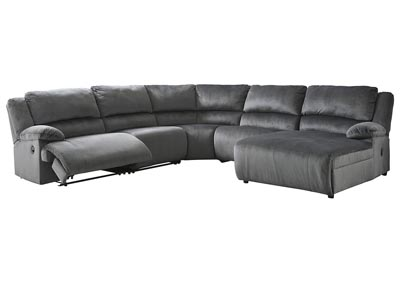 Clonmel Charcoal Reclining RAF Chaise Sectional