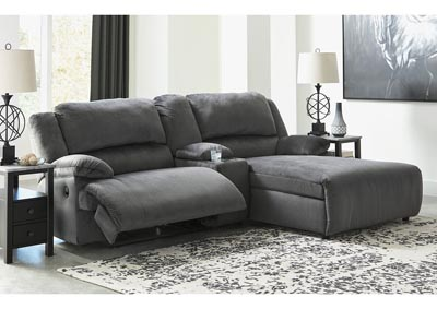Clonmel Charcoal 3 Piece RAF Power Chaise Sectional w/Console