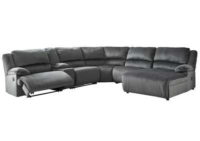 Clonmel Charcoal Reclining RAF Chaise Sectional w/Console