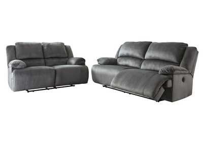 Clonmel Charcoal 2 Seat Power Reclining Sofa & Loveseat