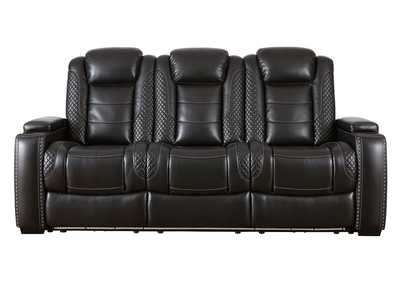 Party Time Midnight Power Reclining Sofa w/Adjustable Headrest