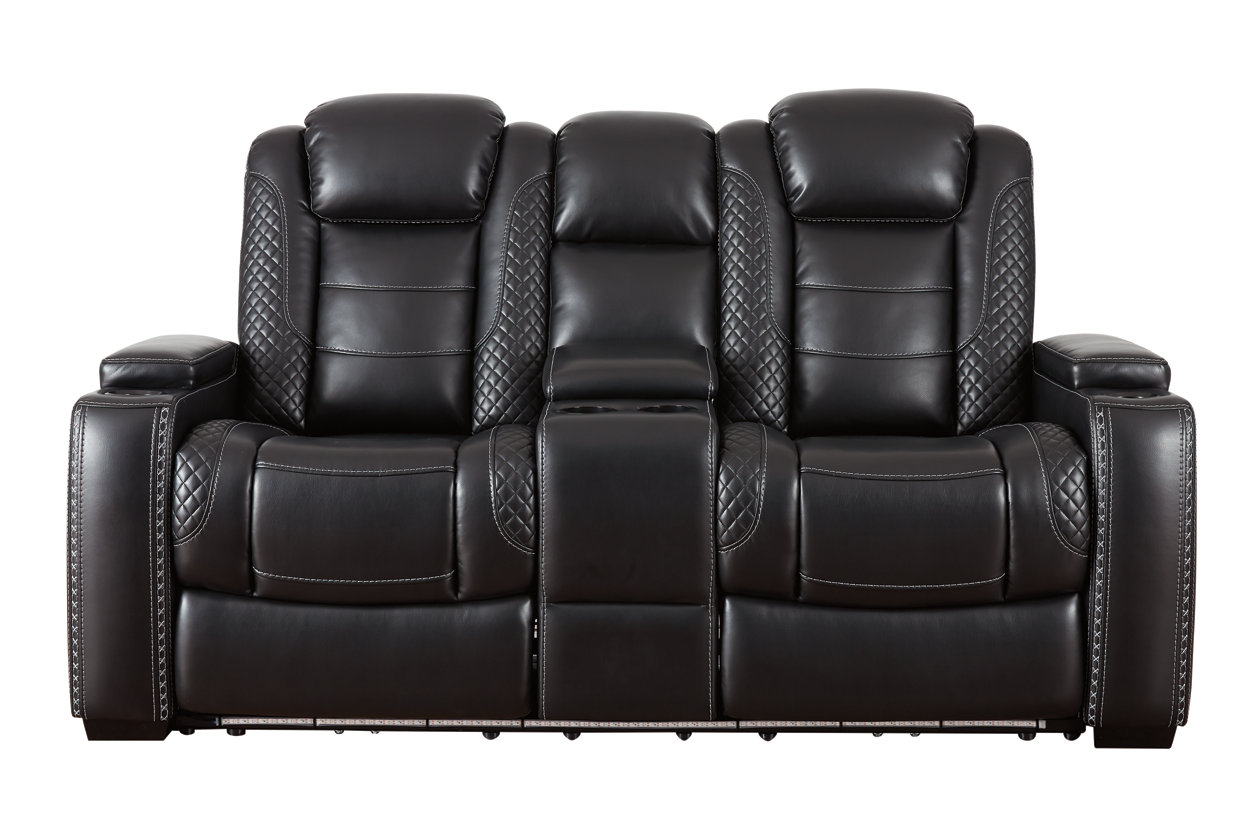 Party Time Midnight Power Reclining Loveseat w/Adjustable Headrest & Console