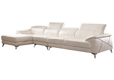 Tindell White Extended Right Facing Loveseat Chaise Sectional