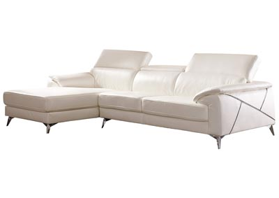 Tindell White Right Facing Loveseat Chaise Sectional