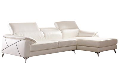 Tindell White Left Facing Loveseat Chaise Sectional