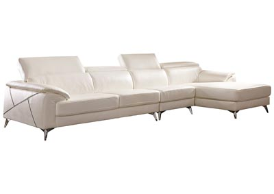 Tindell White Extended Left Facing Loveseat Chaise Sectional