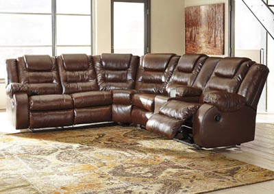 Walgast Espresso Left Facing Reclining Sectional w/Console