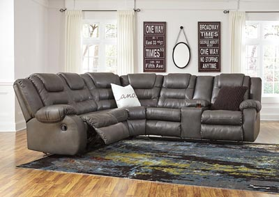 Walgast Gray Reclining Loveseat Sectional w/Console