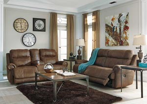 Austere Brown 2 Seat Reclining Sofa & Loveseat