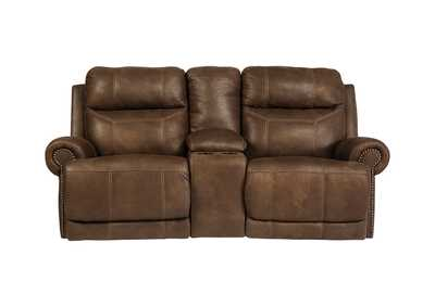 Austere Brown Double Power Reclining Loveseat w/ Console