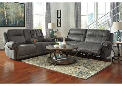 Austere Gray 2 Seat Power Reclining Sofa & Loveseat