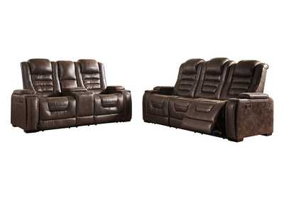 Game Zone Power Reclining Sofa & Loveseat w/Adjustable Headrest