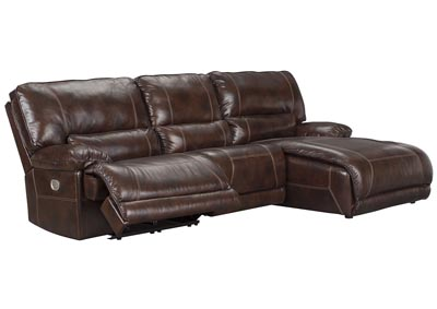 Killamey Walnut Right Facing Press Back Power Chaise Recliner Sectional