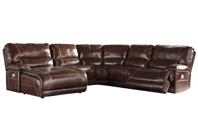 Killamey Walnut Extended Left Facing Press Back Power Chaise Recliner Sectional