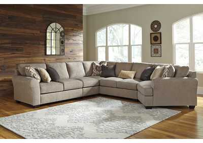 Pantomine Driftwood Left Facing Loveseat Sectional w/Chair and Right Facing Cuddler