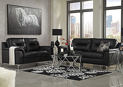 Tensas Black Sofa & Loveseat
