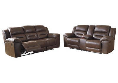 Stoneland Brown Reclining Sofa and Loveseat