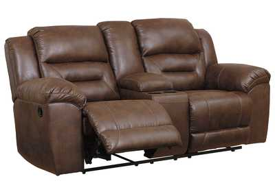 Stoneland Brown Reclining Loveseat with Console